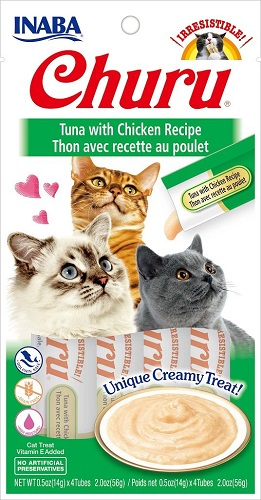Inaba Churu GF Tuna/Chicken Puree Cat Treat 4pk