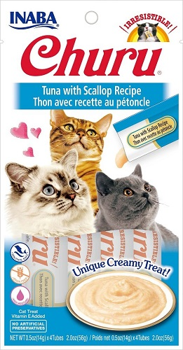 Inaba Churu GF Tuna with Scallop Puree Lickable Trt 4pk