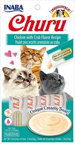Inaba Churu GF Chicken & Crab Flavor Puree Cat Trt 4pk