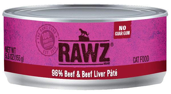 RAWZ 96% Beef and Beef Liver Canned Cat Food 5.5 oz./24
