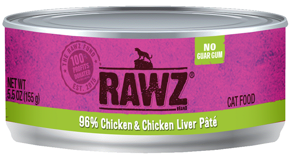 RAWZ 96% Shredded Chicken & Chicken Liver Cat Can 5.5 oz.