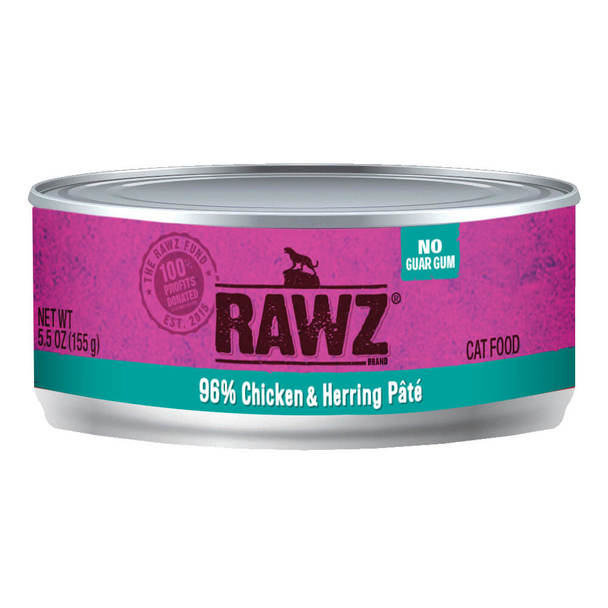 RAWZ 96% Chicken & Herring Pate Canned Cat Food 5.5 oz./24