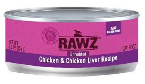 RAWZ Shredded Chicken & Chicken Liver Canned Cat Food 5.5 oz.