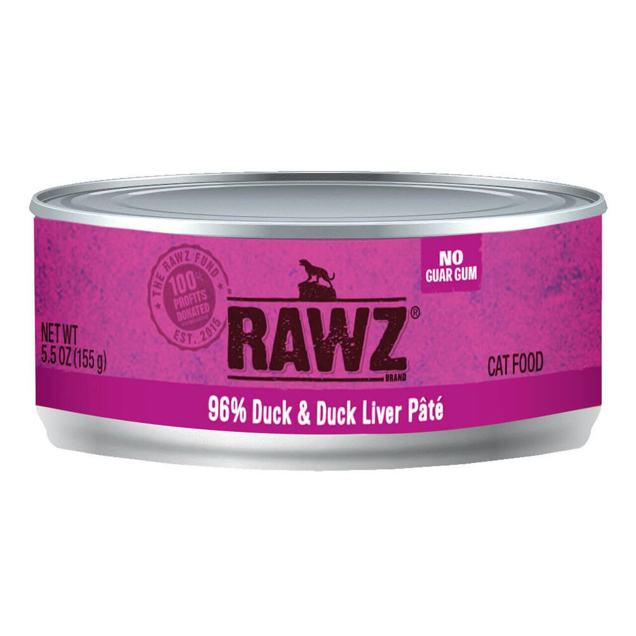 RAWZ 96% Duck & Duck Liver Pate Canned Cat Food 5.5 oz./24