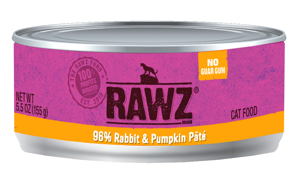 RAWZ 96% Rabbit & Pumpkin Pate Canned Cat Food 5.5 oz./24
