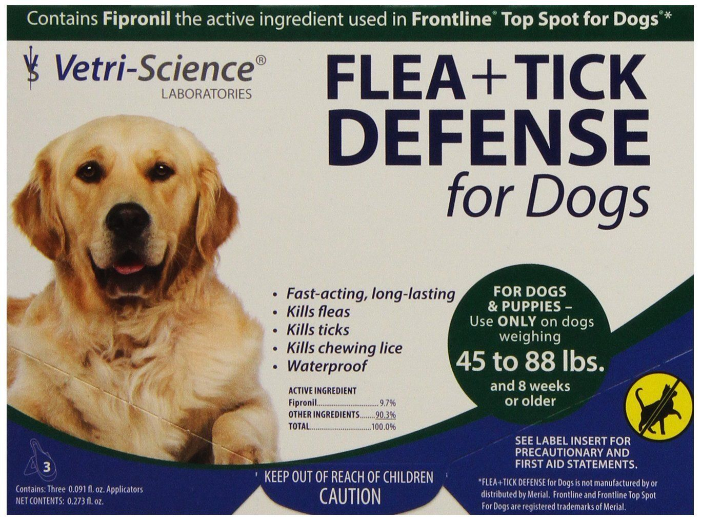 Vetri-Science Flea + Tick Defense for Dogs 45 - 88 Pounds