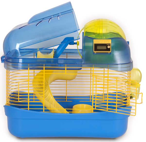 Spin City Health Club Small Animal Cage Blue & Yellow